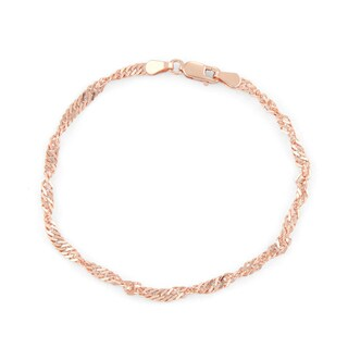 Gioelli Rose Gold over Silver Disco 7.25-inch Chain Bracelet