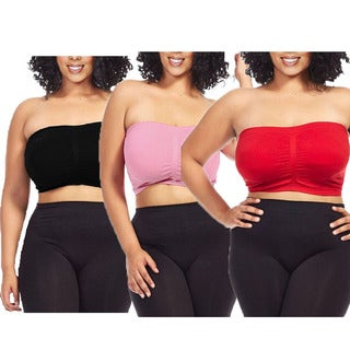 Dinamit Women's Plus Size Seamless Padded Bandeau Tube Top Bra (Pack of 3)
