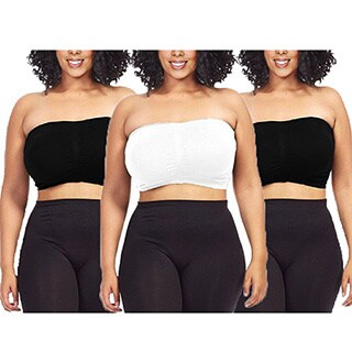 Dinamit Womens Plus Size Black/ White Seamless Padded Bandeau Tube Top Bra (Pack of 3)