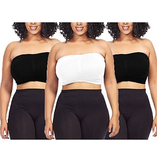 a8775778af472 Dinamit Women  x27 s Plus Size Black  White Seamless Padded Bandeau Tube Top