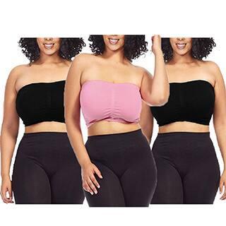 Dinamit Women's Plus Size Pink/ Black Seamless Padded Bandeau Tube Top Bra (Set of 3)