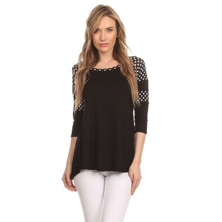 MOA Collection Women's Polka Dot Shoulder Top
