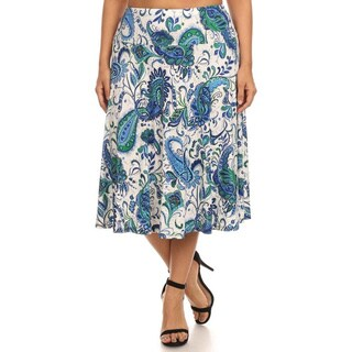 MOA Collection Women's Plus Multi-Color Paisley Skirt