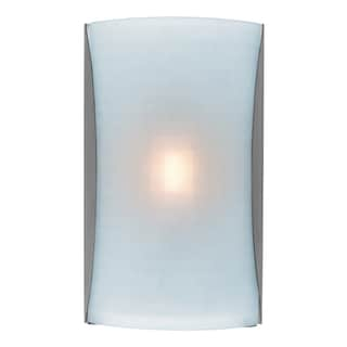 Access Lighting Radon 1-light Brushed Steel Wall Sconce with Checkered Frosted Shade