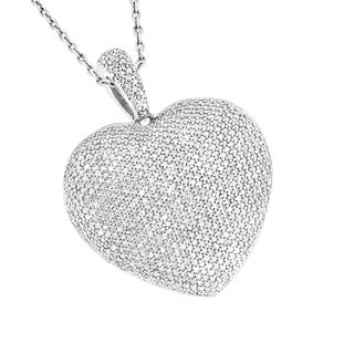Luxurman 14k Gold 2 5/8ct TDW Pave Diamond Heart Necklace (H-I, SI1-SI2)