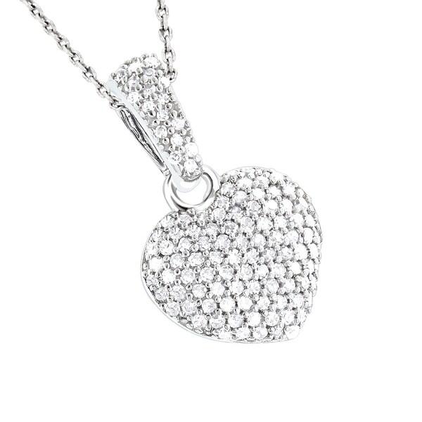 13b4ffbe0395 Shop Luxurman 14k Gold 1/2ct TDW Small Pave Diamond Heart Pendant ...