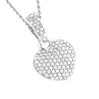 Luxurman 14k Gold 1/2ct TDW Small Pave Diamond Heart Pendant (H-I, SI1-SI2)