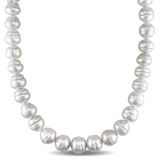 Miadora Signature Collection Cultured South Sea Pearl Necklace with 14k Yellow Gold Diamond Accent Clasp (H-I, I1-I2)(11-13.5mm)