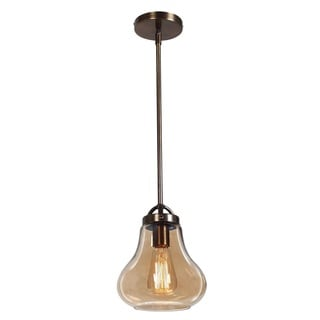 Access Lighting Flux 1-light Dark Bronze Pendant with Amber Shade
