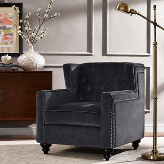 Grey Velvet Chair with Button Tufted Back and Nailhead Trim