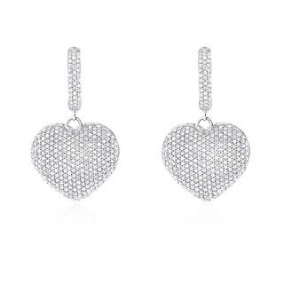 Luxurman 14k Gold 2 1/2ct TDW Dangle Diamond Heart Earrings (H-I, SI1-SI2)