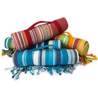 Handmade Fringed Roll Up Beach Blanket with Easy Carry Handle (60 x 60)