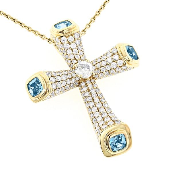 d8f52d4a8127 Shop Luxurman 14k Gold 1 1/6ct TDW Pave Diamond Heart Pendant (H-I ...