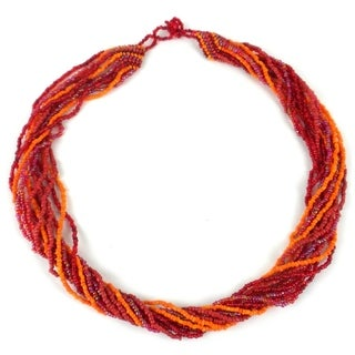 Handmade 12-Strand Beaded Necklace - Red & Orange (Guatemala)