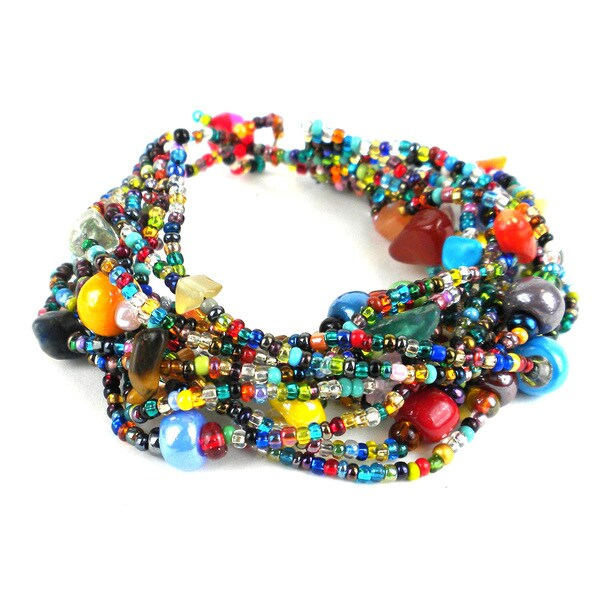 Handmade Multi Strand Beaded Bracelet Beach Ball Guatemala
