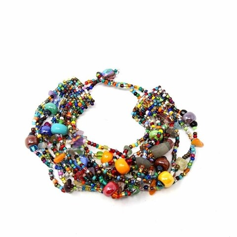 Handmade Multi-Strand Beaded Bracelet - Beach Ball (Guatemala) - multi
