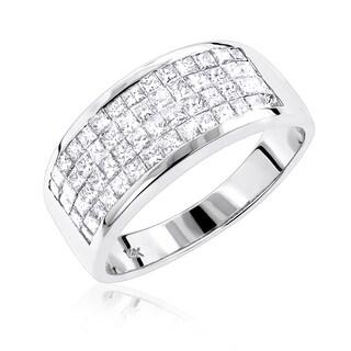 Luxurman 14k Gold 1 7/8ct TDW Princess-cut Invisible Diamond Wedding Band