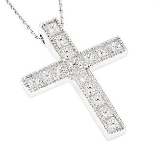 Luxurman 14k Gold 2 3/5ct TDW Princess-cut Diamond Cross Necklace (H-I, SI1-SI2)
