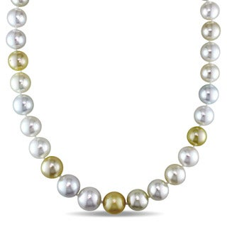 Miadora Signature Collection Cultured White & Gold South Sea Pearl Necklace with 14k Yellow Gold Ball Clasp (10-13 mm)