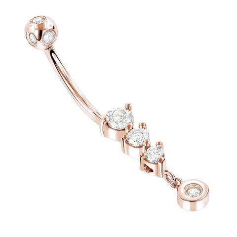 Luxurman 14k Gold 2/5ct TDW Dangling Diamond Belly Button Jewelry (H-I, SI1-SI2)