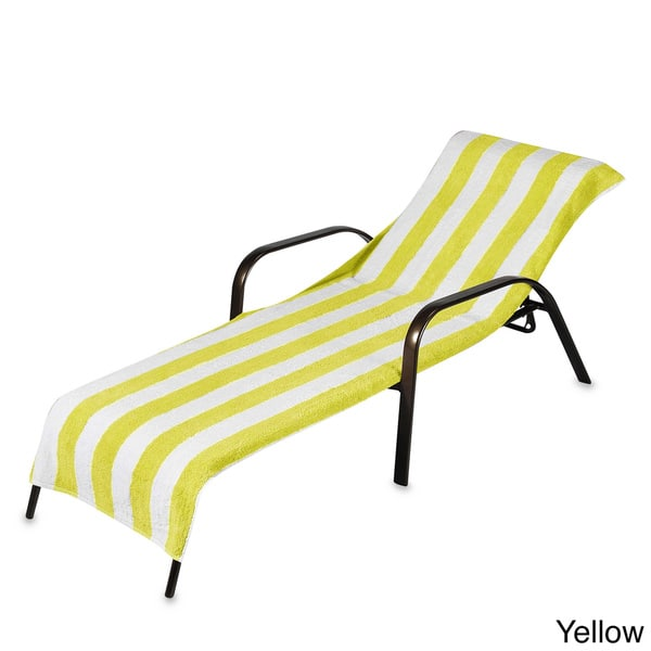 Terry Stripe Chaise Lounge Cover