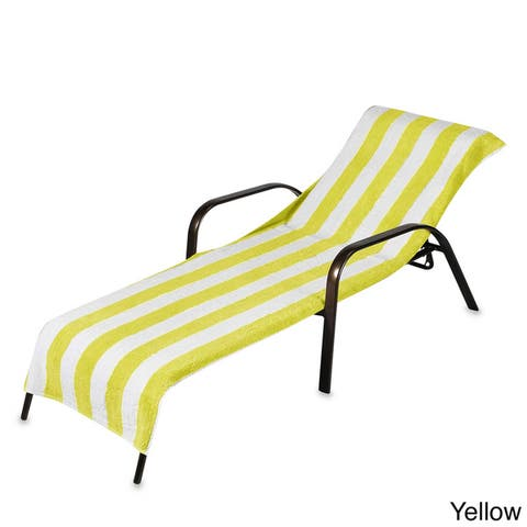 Beach Towel Style Terry Stripe Chaise Lounge Cover (28 x 78) Assorted Colors