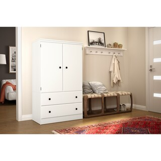 """South Shore Morgan Two Door Armoire with Drawers - 35.4""""l x 19.5""""d x 60.8""""h (Option: pure white)"""