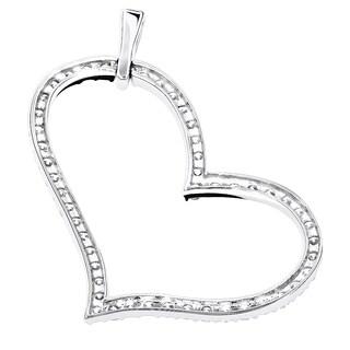Luxurman 14k Gold 1ct TDW Round Diamond Heart Pendant