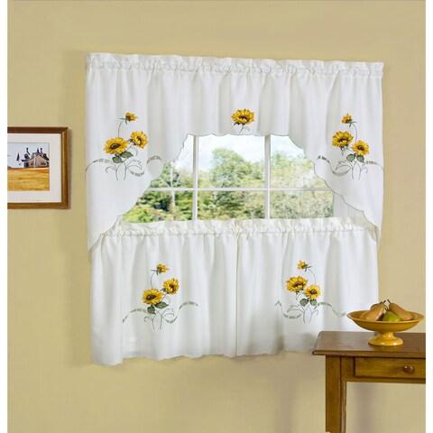 Achim Sunshine Embellished Tier and Swag Window Set