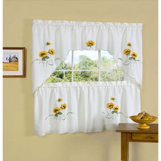 Achim Sunshine Embellished Tier and Swag Window Set