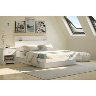 """South Shore Basic Queen Platform Bed 60"""" with Moldings, Pure White"""