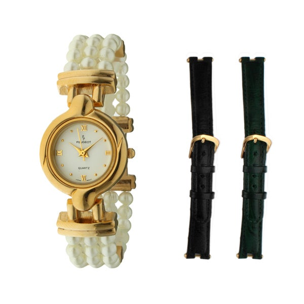 Peugeot Women's Goldtone Pearl Bracelet with Two Genuine Leather Straps