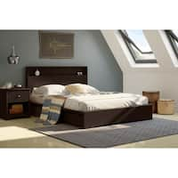 South Shore Basic Pure White Queen Platform Bed with 2 Drawers
