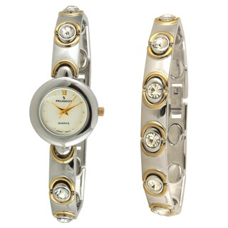 Peugeot Women's Two-Tone Crystal Watch, Bracelet and Earring Set