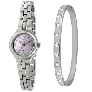 Peugeot Women's Silver-Tone Watch and Bangle Set