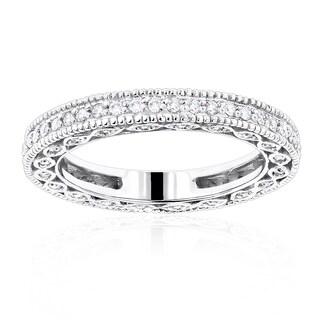 Luxurman Thin 14k Gold 5/8ct TDW Round Diamond Eternity Ring