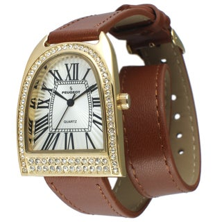 Peugeot Women's Gold-Tone Crystal Bezel Brown Leather Double Wrap Strap Watch