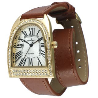 Peugeot Women's Gold-Tone Crystal Bezel Brown Leather Double Wrap Strap Watch|https://ak1.ostkcdn.com/images/products/11660238/P18590342.jpg?impolicy=medium