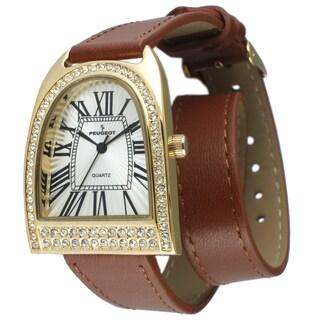 Peugeot Women's Gold-Tone Crystal Bezel Brown Leather Double Wrap Strap Watch