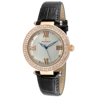 Peugeot Women's Round Rose-Tone Crystal Bezel Black Leather Dress Watch