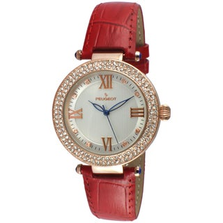 Peugeot Women's Round Rose-Tone Crystal Bezel Red Leather Dress Watch