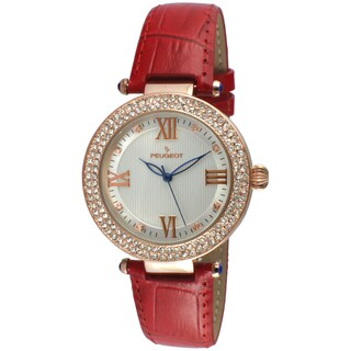 Peugeot Women's Round Rose-Tone Crystal Bezel Red Leather Dress Watch|https://ak1.ostkcdn.com/images/products/11660245/P18590343.jpg?_ostk_perf_=percv&impolicy=medium
