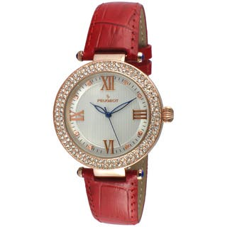 Peugeot Women's Round Rose-Tone Crystal Bezel Red Leather Dress Watch|https://ak1.ostkcdn.com/images/products/11660245/P18590343.jpg?impolicy=medium