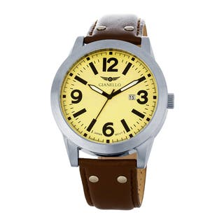 Gianello Men's Leather Strap Riveted Watch|https://ak1.ostkcdn.com/images/products/11660246/P18590331.jpg?impolicy=medium