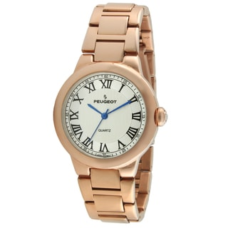 Peugeot Women's Round Rose-Tone Roman Numeral Link Bracelet Dress Watch