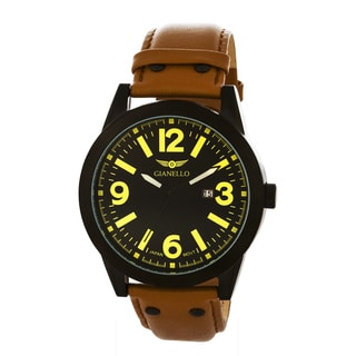 Gianello Men's Leather Strap Black Riveted Watch
