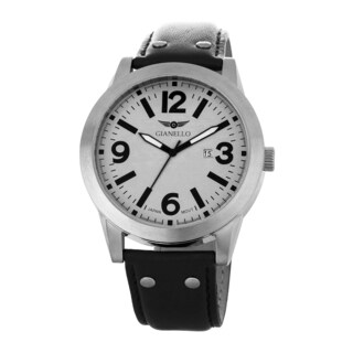 Gianello Men's Leather Strap Silvertone Riveted Watch