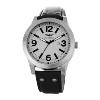 Gianello Men's Leather Strap Silvertone Riveted Watch