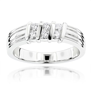 Luxurman Platinum 1/3ct TDW Diamond Wedding Ring (G-H, VS1-VS2)