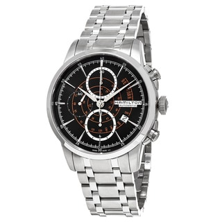 Hamilton Men's H40656131 American Classic' Black Dial Stainless Steel Railroad Chronograph Swiss Aut